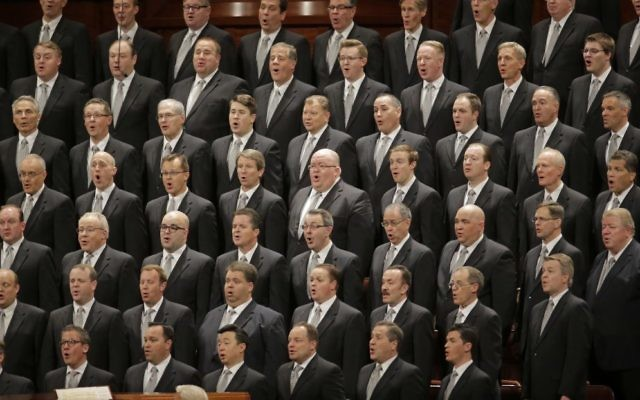 The Mormon Tabernacle Choir of The Church of Jesus Christ of Latter-Day Saints sing in the Conference Center at the morning session of the two-day Mormon church conference Saturday, April 1, 2017, in Salt Lake City (AP Photo/Rick Bowmer)