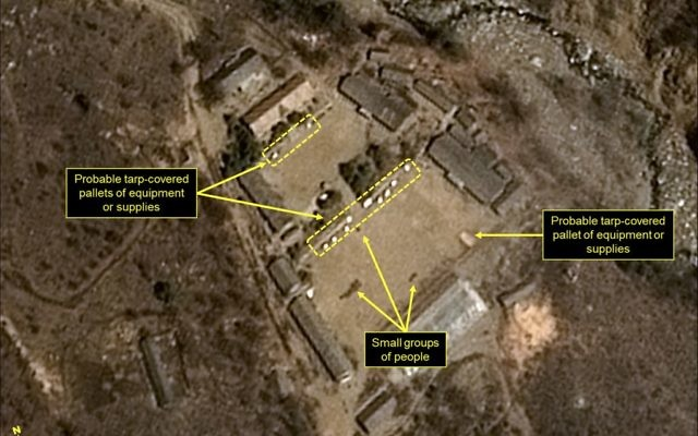 Satellite image of the Punggye-ri nuclear test site in North Korea, April 12, 2017 (Airbus Defense & Space/38 North/Pleiades CNES/Spot Image via AP)