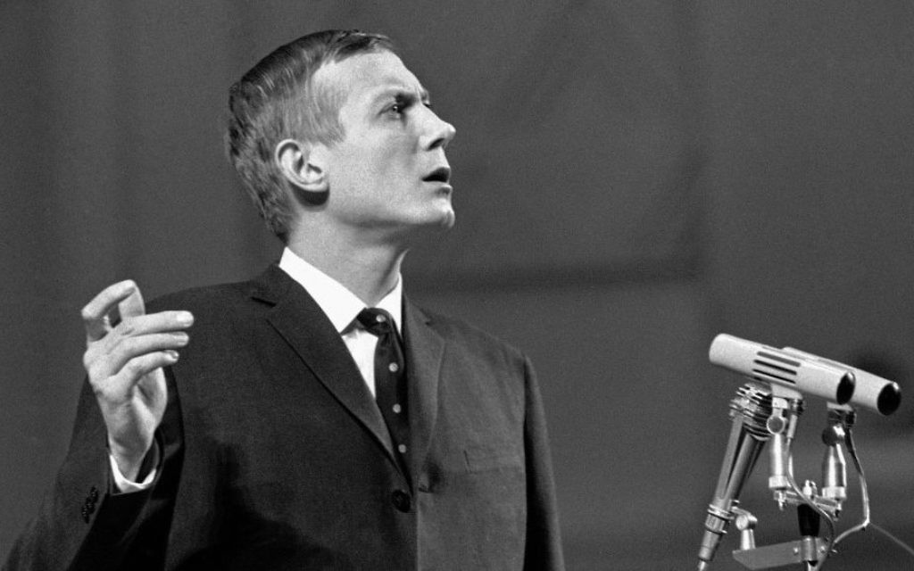 In this Dec. 28, 1962 file photo, anti-Stalinist poet Yevgenny Yevtushenko speaks during a reading of his poetry in Moscow's Tschaikovsky Concert Hall in Moscow. (AP Photo)