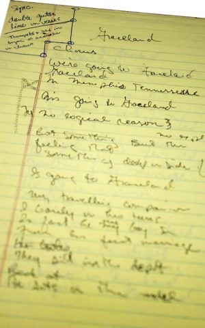 Paul Simon's handwritten lyrics for 'Graceland.' (Courtesy)