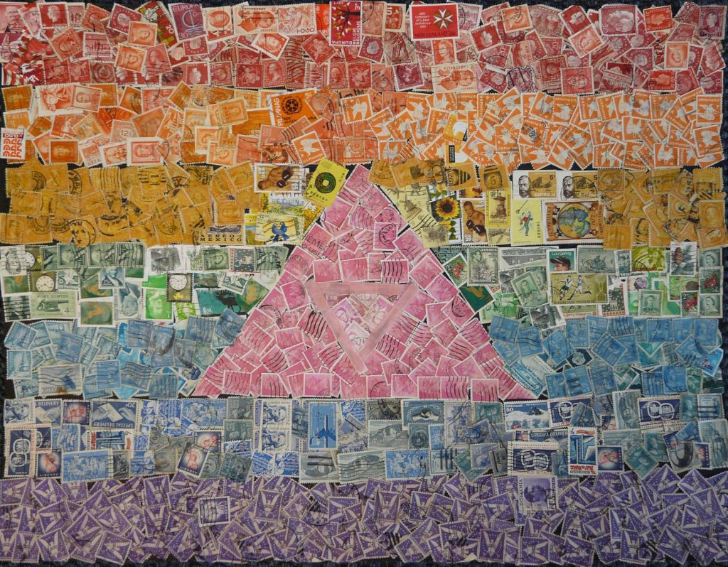 A gay rights-themed collage made of canceled postage stamps created by students through the Holocaust Stamps Project at Foxboro Regional Charter School in Massachusetts (Courtesy)