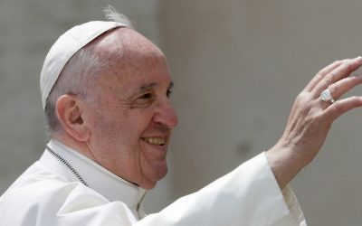 Pope Francis salutes at the end of his weekly general audience in St. Peter's square at the Vatican, Wednesday, April 26, 2017. (AP Photo/Andrew Medichini)
