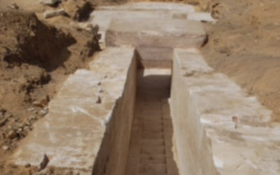 A corridor in the remains of an ancient pyramid found in Giza, Egypt and announced April 3, 2017. Egyptian Antiques Ministry)