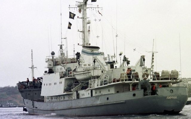 In this file photo taken on Friday, April 2, 1999, Russian Navy reconnaissance frigate Liman leaves from the Black Sea fleet's base at Sevastopol, Crimean peninsula. (AP Photo/Efrem Lukatsky, FILE)