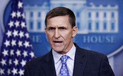 National Security Adviser Michael Flynn speaks during the daily news briefing at the White House, in Washington, February 1, 2017. (AP/Carolyn Kaster)