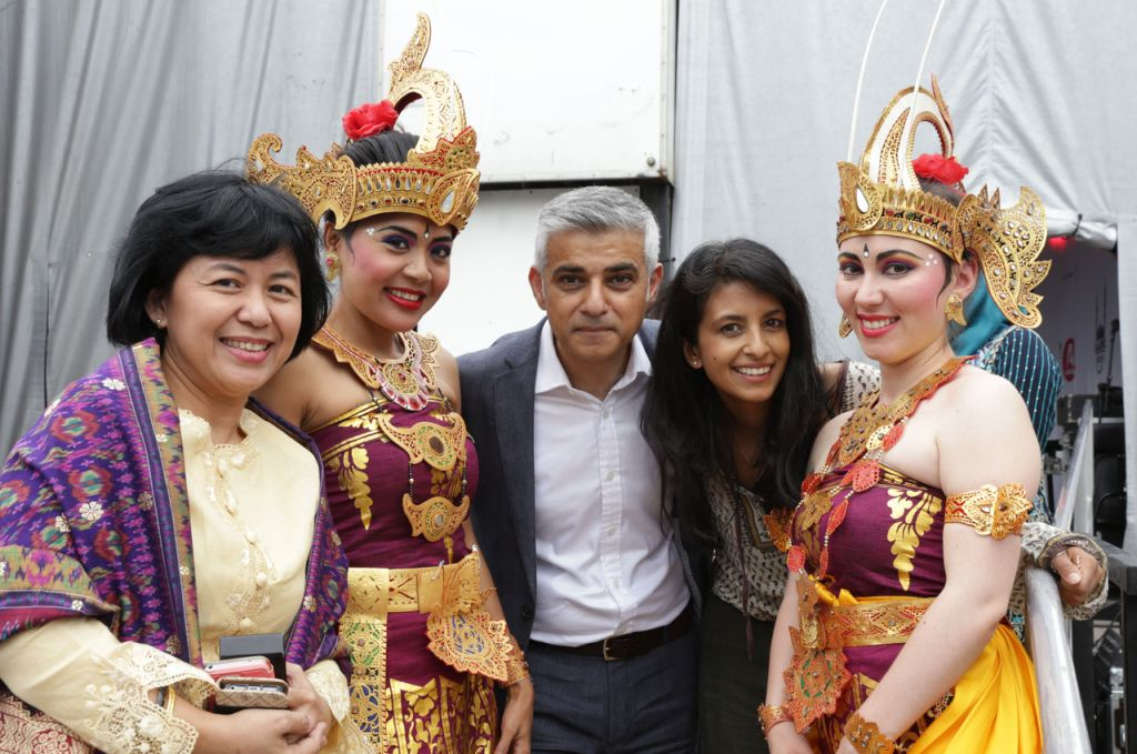 London mayor Sadiq Khan celebrates Eid in Trafalgar Square, on July 9, 2016. (Courtesy)