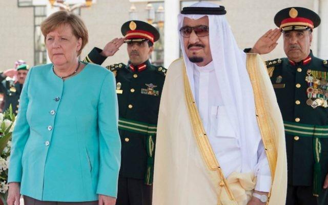 German Chancellor Angela Merkel is received by Saudi King Salman on her arrival to Jeddah, Saudi Arabia, April 30, 2017. (Saudi Press Agency via AP)