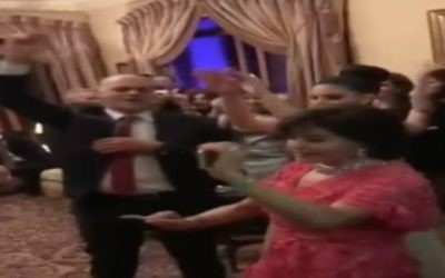 Video from the wedding of former Egyptian strongman Gamel Abdel Nasser's grandson. The man dancing on the left was said to be the Israeli ambassador to Egypt, but was in fact the groom. (Screen Capture: Channel 2)