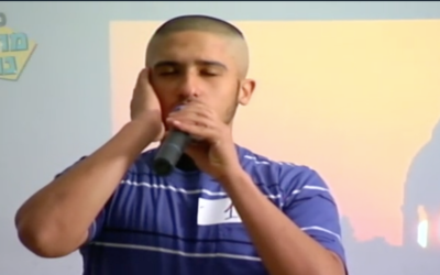 "A contestant in the ""A Muezzin is Born"" competition (Channel 2 screenshot)"