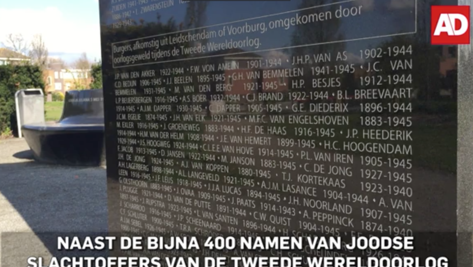 Monument for Jewish Holocaust victims, which also features the names of three SS soldiers, at Leidschendam-Voorburg in the western Netherlands (Algemeen Dagblad screenshot)