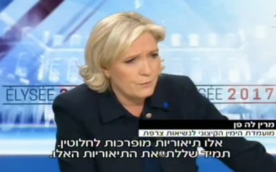 French presidential candidate Marine Le Pen in a TV interview April 28, 2017 (Channel 2 screenshot)