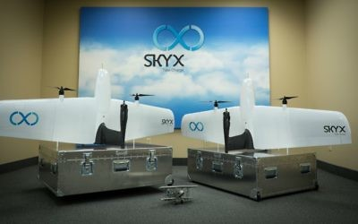 SkyOne drone models; the drones can recharge themselves  (Courtesy)