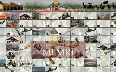 'Reaching Jerusalem,' a Hamas inspired version of the 'Snakes and Ladders' board game. (MEMRI)