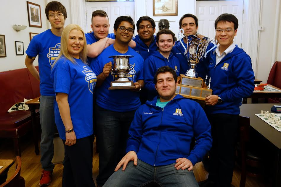 Chess grandmaster and coach Susan Polgar with her championship-winning Webster University team in 2017. (Courtesy)