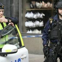 Illustrative: Police patrol near the scene of a terror attack in central Stockholm, Sweden, April 8, 2017. (Anders Wiklund/TT via AP)