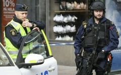 Illustrative: Police patrol near the scene of a terror attack in central Stockholm, Sweden, April 8, 2017. (Anders Wiklund/TT via AP)