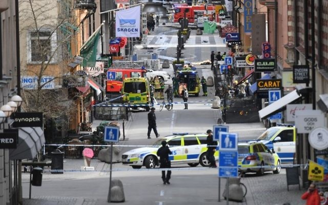 A view of the scene after a truck crashed into a department store injuring several people in central Stockholm, Sweden, Friday April 7, 2017. (Fredrik Sandberg/TT News Agency via AP)