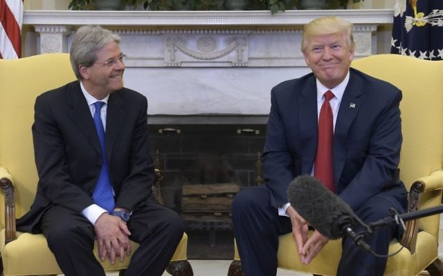 President Donald Trump meets with Italian Prime Minister Paolo Gentiloni in the Oval Office of the White House in Washington, Thursday, April 20, 2017. (AP/Susan Walsh)