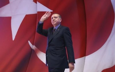 In this Wednesday, April 12, 2017 photo, Turkey's President Recep Tayyip Erdogan addresses his supporters during a referendum meeting in Istanbul. (Kayhan Ozer/Presidential Press Service, Pool Photo via AP)