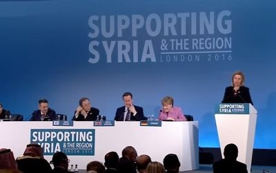 EU High Representative Federica Mogherini (R) addresses the Supporting the Future of Syria and the Region Conference on February 5, 2016 in London. (Screen capture/YouTube)