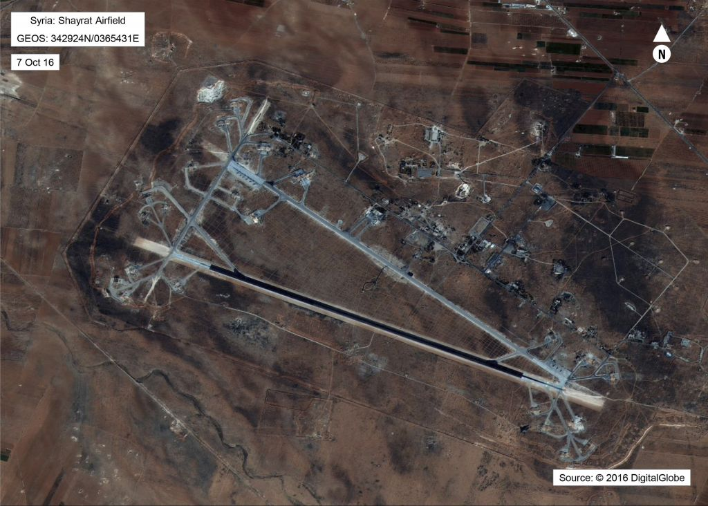 This Oct. 7, 2016 satellite image released by the U.S. Department of Defense shows Shayrat air base in Syria. (DigitalGlobe/U.S. Department of Defense via AP)