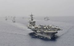 The USS Carl Vinson aircraft supercarrier takes part in a joint US-India naval exercise in the Indian Ocean, April 16, 2012. (US Navy photo by Mass Communication Specialist Seaman George M. Bell/Public domain/Wikimedia Commons)