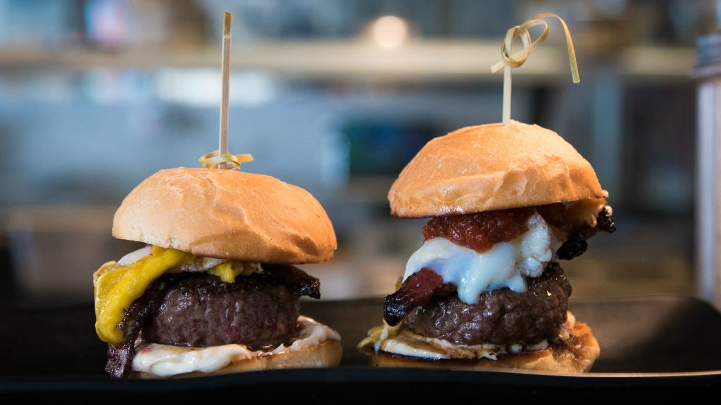 The Sam-I-Am sliders at Crave; small, juicy and piled high with unique sauces and toppings (Luke Tress/Times of Israel)
