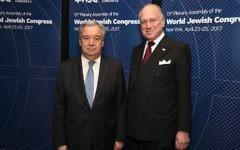 UN Secretary General Antonio Guterres with WJC President Ronald S. Lauder at the World Jewish Congress Plenary Assembly in New York. April 23, 2017. (Shahar Azran)