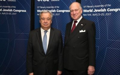 UN Secretary General Antonio Guterres with WJC President Ronald S. Lauder at the World Jewish Congress Plenary Assembly in New York. April 23, 2017. (Shahar Azran)