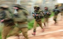 Illustrative image of soldiers of the Nahal Brigade during military training, Northern Israel. April 1, 2009.  (IDF Spokesperson / Flash 90.)