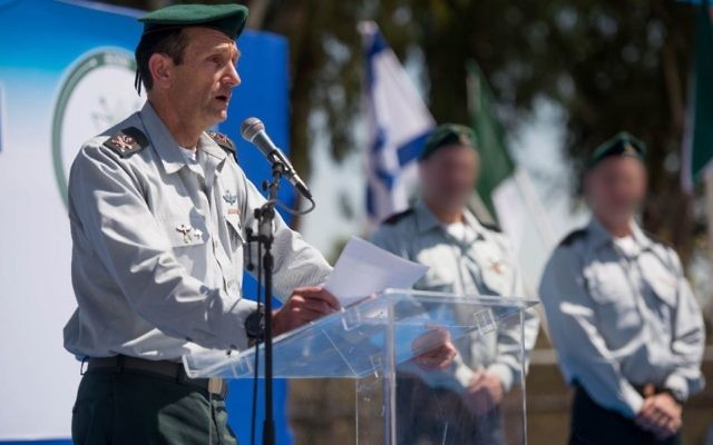 Military Intelligence chief Maj. Gen. Herzl Halevi speaks at a ceremony for the incoming head of Unit 8200 in the Gelilot base, north of Tel Aviv, on April 6, 2017. (IDF Spokesperson's Unit)