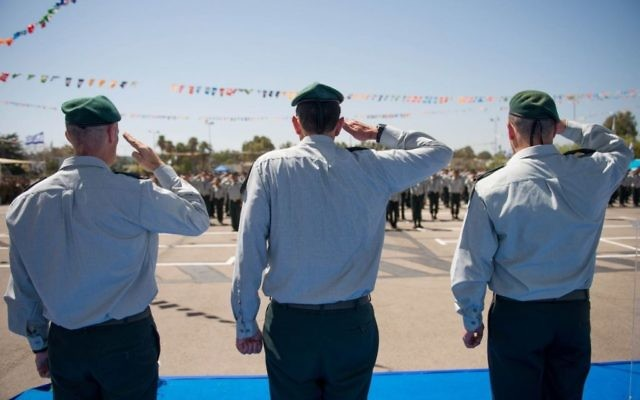 A ceremony for the incoming head of Military Intelligence's Unit 8200 in the Gelilot base, north of Tel Aviv, on April 6, 2017. (IDF Spokesperson's Unit)