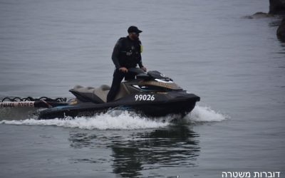 Police search for three youths who went missing on the Sea of Galilee on April 16, 2017. (Police spokesperson)