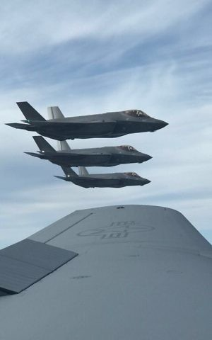 Israel's newest three F-35 stealth fighter jets on their way to Israel in April 2017. (IDF Spokesperson's Unit)