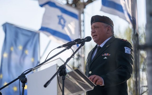 IDF Chief of Staff Gadi Eisenkot addressing the March of the Living near the site of the Auschwitz death camp, on April 24, 2017. (IDF Spokesperson)