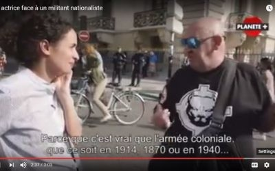 Screen capture from video showing actress and comedian Amelle Chahbi confronting a nationalist demonstrator in the French documentary 'Why do they hate us?' (YouTube/L'instant insolite)