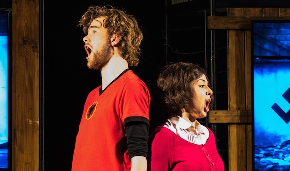 Lilian Farahani and Benjamin de Wilde portraying Anne Frank and Zef Bunga at the National Holocaust Museum in Amsterdam, March 5, 2017. (Cnaan Liphshiz/JTA)