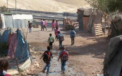 Illustrative: Schoolchildren in the West Bank Bedouin village of Khan al-Ahmar (YouTube screenshot)