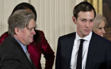 Stephen Bannon, left, and Jared Kushner attending a White House swearing-in ceremony of senior staff, January 22, 2017. (Andrew Harrer-Pool/Getty Images via JTA)