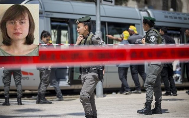 Police at the scene where Hannah Bladon, 20, a British exchange student, was killed in a stabbing attack on Jerusalem's light rail near IDF square in Jerusalem, on April 14, 2017. (Yonatan Sindel/Flash90) Inset: Hannah Bladon. (Courtesy)