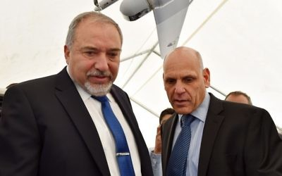 Defense Minister Avigdor Liberman at the inauguration ceremony for a new Elbit defense electronics factory in the southern Israeli town of Arad. April 02, 2017. Photo by Ariel Hermoni/Ministry of Defense