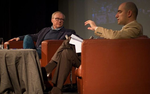 Author David Grossman is interviewed by Benjamin Balint in an event hosted by the Times of Israel in Jerusalem, April 2, 2017. (Luke Tress/Times of Israel)