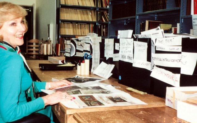 Archival photo of Lillian Michelson in her film research library (Zeitgeist Films)