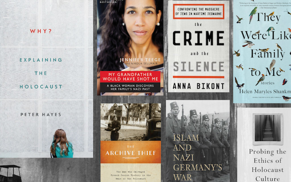 Jewish studies scholars recommended these seven recently published books about the Holocaust. (JTA collage; background image: Piotr Drabik/Wikimedia Commons)