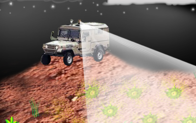 Illustration of  a possible application of a system to remotely detect buried landmines using a bacterial sensor (Credit: Hebrew University)