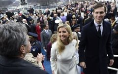 Ivanka Trump and Jared Kushner leaving after the presidential inauguration at the U.S. Capitol, January 20, 2017. (Saul Loeb/Pool/Getty Images/via JTA)