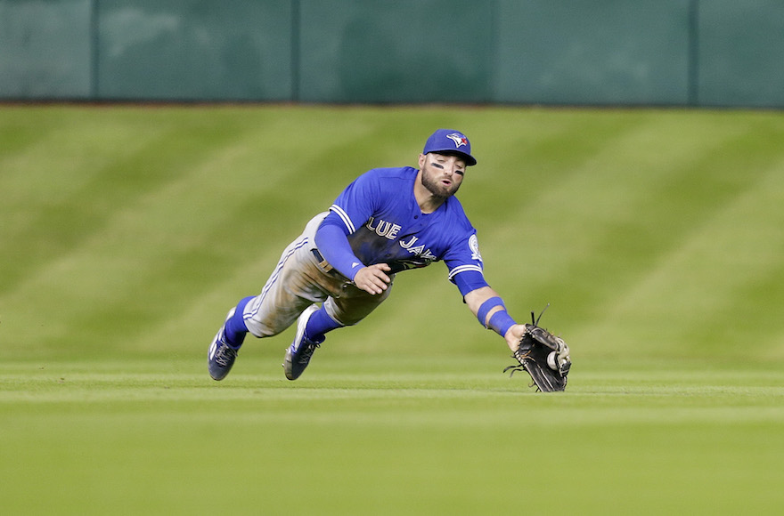 Kevin Pillar of the Toronto Blue Jays makes a diving catch on a line drive on August 3, 2016 in Houston, Texas. (Photo by Bob Levey/Getty Images/via JTA)