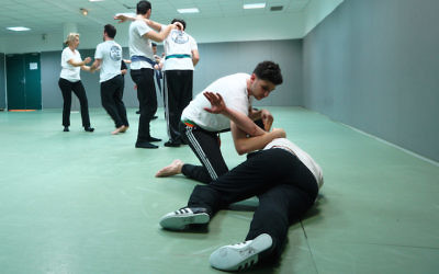 Krav Maga students practicing in Saint Mande, March 23, 2017. (Cnaan Liphshiz/JTA)