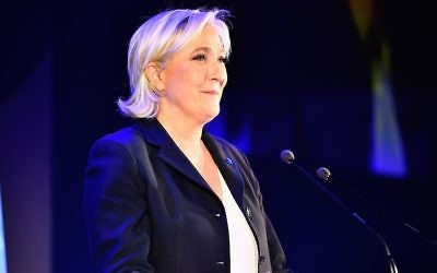 National Front leader Marine Le Pen addressing activists at the Espace Francois Mitterrand in Henin Beaumont, France, April 23, 2017. (Jeff J Mitchell/Getty Images/JTA)