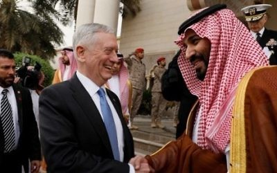 US Defence Secretary James Mattis bids farewell to Saudi Deputy Crown Prince Mohammed bin Salman (C-R) following their meeting in Riyadh on April 19, 2017. (AFP/Pool/Jonathan Ernst)